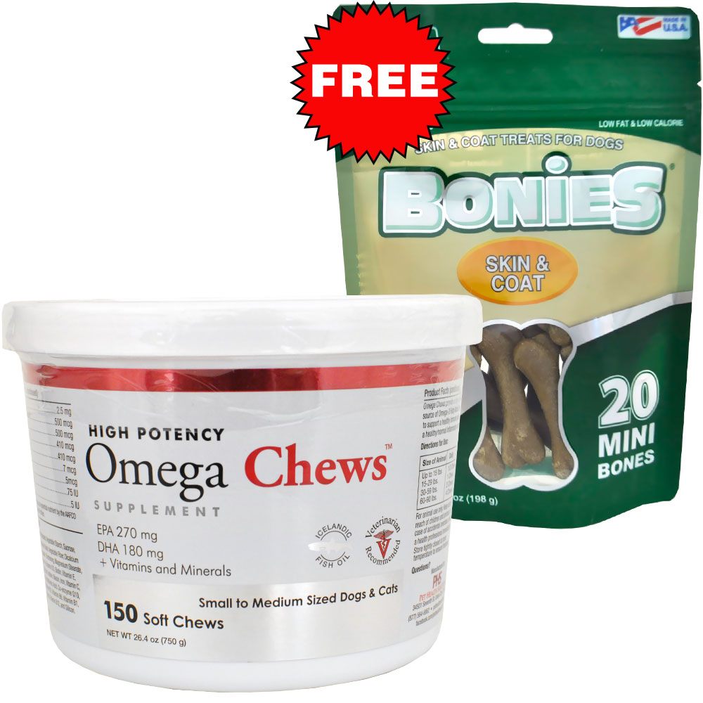 Omega Chews for Small to Medium Sized Dogs & Cats (150 Soft Chews) + FREE BONIES Skin & Coat Health OMEGA732