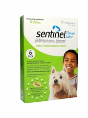 Sentinel Flavor Tabs for Dogs 11-25 lbs Green (6 Tabs)