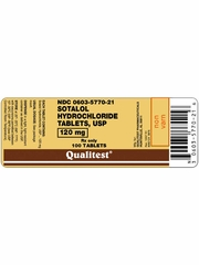 Sotalol Hydrochloride 120mg (per tab) (Manufacturer may vary)
