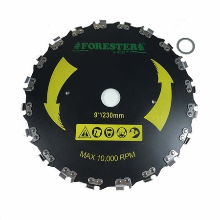 "Forester Chainsaw Tooth Brushcutter Blade - 9"" Diameter x 1"" Arbor"