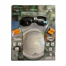 Face Protection Combo - Dust Mak, Safety Glasses & Ear Plugs