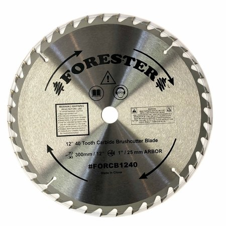 """Forester 40 Tooth Carbide Tip Brush Cutter Blade - 12"""" x 1"""" / 20mm Arbor"""