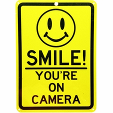 """Forester 7"""" x 10"""" Reflective Aluminum Sign - Smile You're on Camera"""