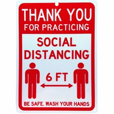 """Forester 7"""" x 10"""" Reflective Aluminum Sign - Social Distancing"""