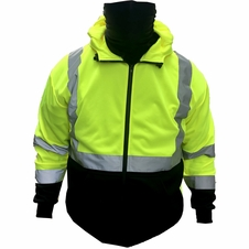 Forester Double Weight Class 3 Hi-Vis Zip Up Hoodie w/ Built in Face Mask