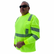 Forester Hi-Vis Class 3 Reflective Safety Long Sleeve Shirt - Safety Green