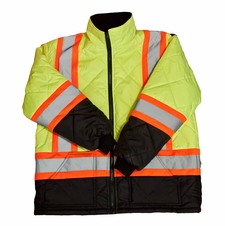 Forester Hi-Vis Insulated Class 3 Puff Coat - Safety Green