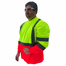 Forester Hi-Vis Red Bottom Class 3 Reflective Safety Long Sleeve Shirt - Safety Green