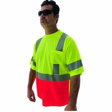 Forester Hi-Vis Red Bottom Class 3 Reflective Safety T-Shirt - Safety Green