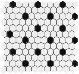 White and Black Mix 1 in. x 1 in. Hex Porcelain Tile Mosaic