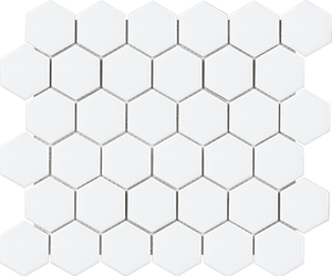 White 2 in. x 2 in. Matte Hex Porcelain Tile Mosaic