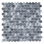 Gray Blend Glossy 3/4 in. Penny Round Porcelain Tile Mosaic