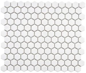 White 1 in. x 1 in. Matte Hex Porcelain Tile Mosaic
