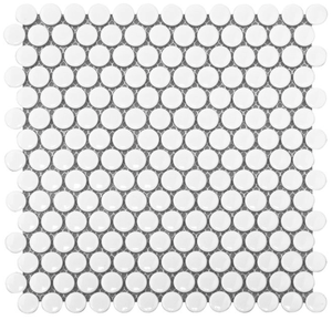 White Glossy 3/4 in. Penny Round Porcelain Tile Mosaic