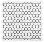 White Matte 3/4 in. Penny Round Porcelain Tile Mosaic