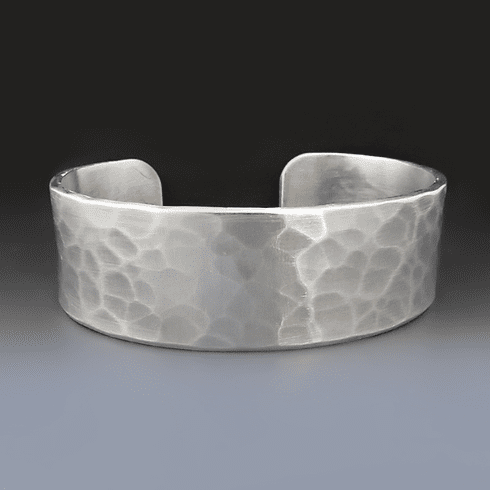 3/4 inch Wide Custom Hammered <br>Custom Silver Bracelet