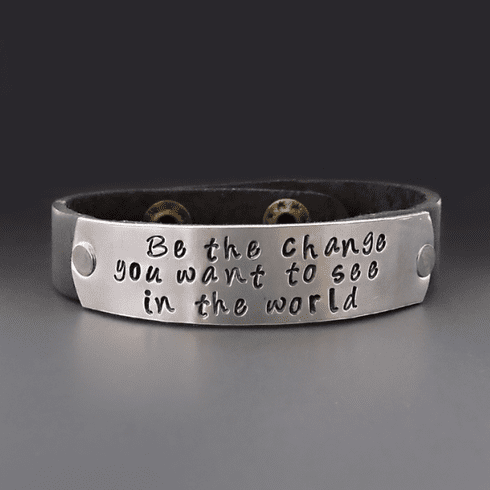 Be The Change Leather Bracelet