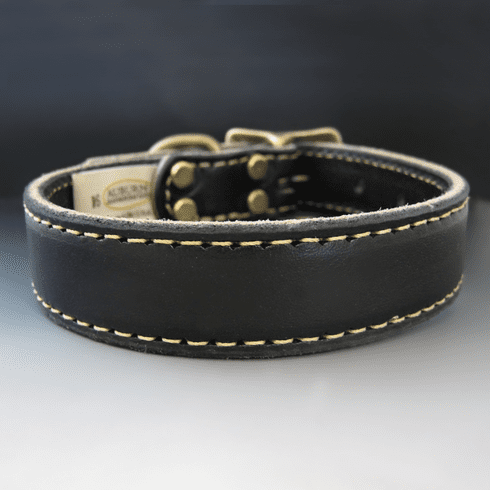 Black Stitched Leather Dog Collar {1 Inch Wide}