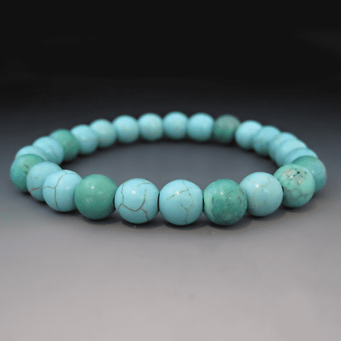 Blue Turquoise <br> Gemstone Stretch Bracelet