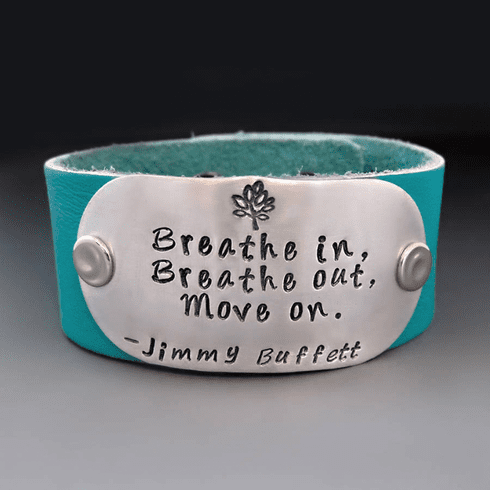 Breathe Out Move On Leather Cuff