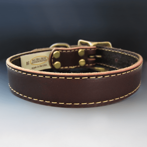Burgundy Stitched Leather Dog Collar {1 inch wide}
