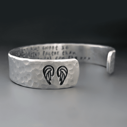 Custom Silver Angel Wing Bracelet
