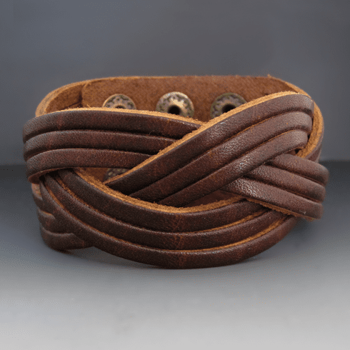 Dark Brown Wide Braided Leather Cuff Bracelet