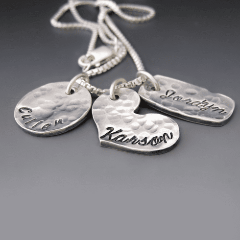 Family Portrait Necklace {Hand Stamped Name Charms}