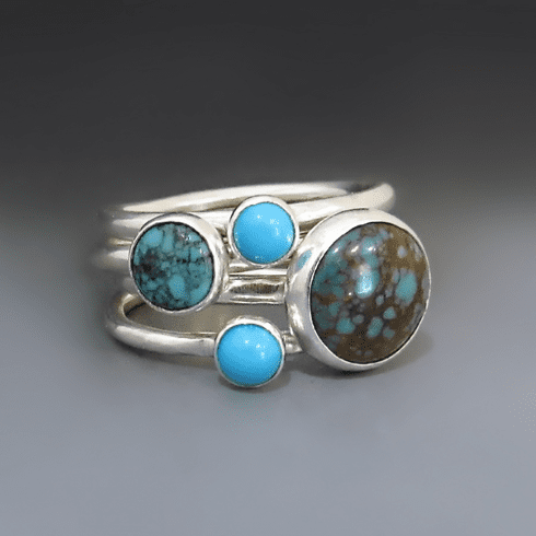 Genuine Turquoise Round Statement Ring