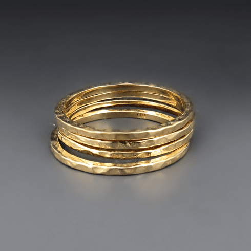 Gold Bronze Hammered Stacking Ring