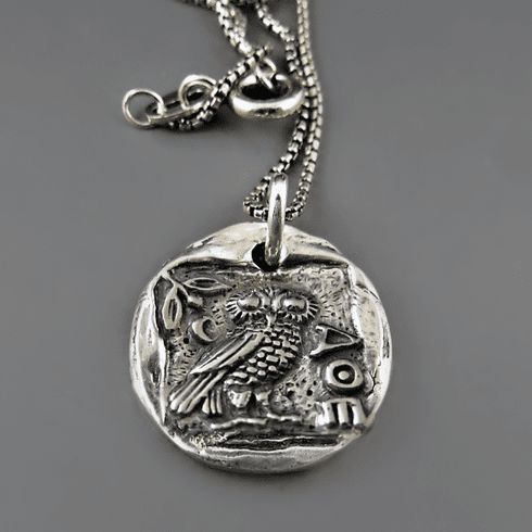 Greek Athena Owl Coin Necklace