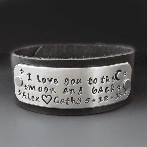 I Love You To The Moon Leather Cuff