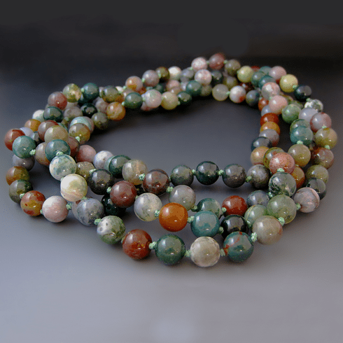 Long Green Jasper Gemstone Necklace {60 inches}