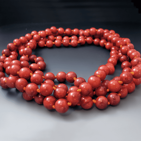 Long Red Sponge Coral Necklace {60 Inches}