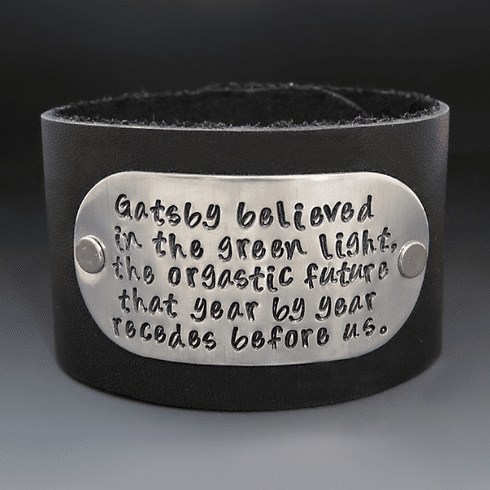 Men's 1.5 inch Hand Stamped <br>Custom Leather Cuff