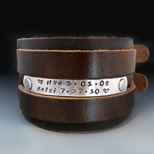Men's Custom Wide Leather Bracelet {2 inches}