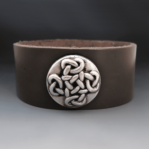 Men's Celtic Cross Leather Cuff Bracelet