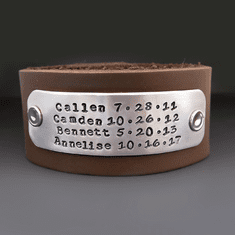 Men's Custom Names / Dates Leather Cuff