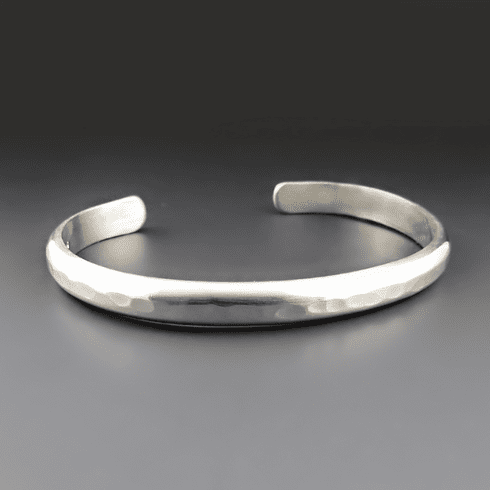 Men's Heavy Gauge Hammered Silver Cuff