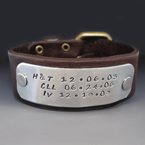 Men's Personalized 1 Inch <br>Leather Bracelet with Buckle