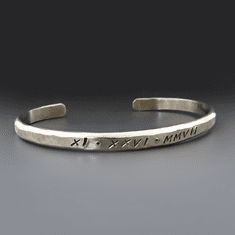 Men's Personalized Heavy <br> Gauge Silver Cuff Bracelet
