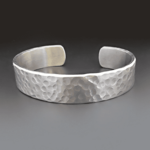 Mens Silver Hammered Cuff
