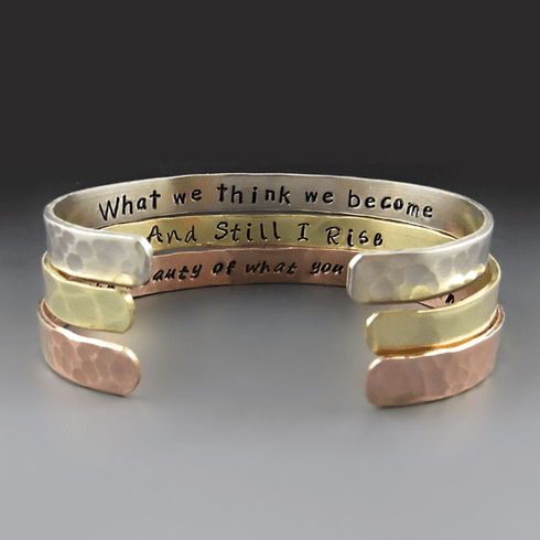 "Personalized 1/4"" Wide Cuff <br>{Gold Brass, Copper, Silver}"