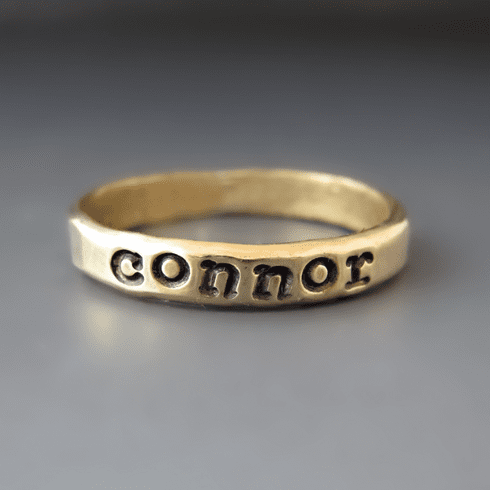 Personalized Gold Stacking Name Ring