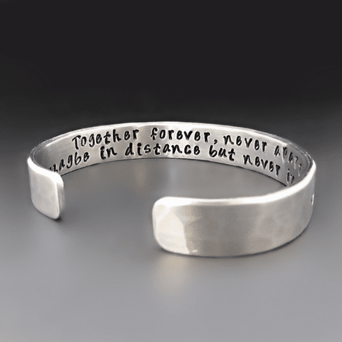 Personalized Silver Cuff Bracelet <br> {3/8 Inch Wide}