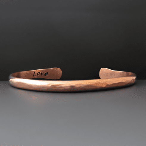 Personalized Hand Stamped Thin Copper Bracelet
