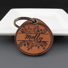 Personalized Leather Pet ID {Flowers}