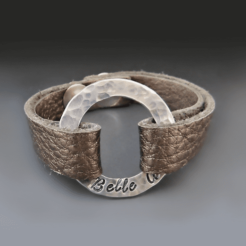 Personalized Leather <br> Washer Bracelet