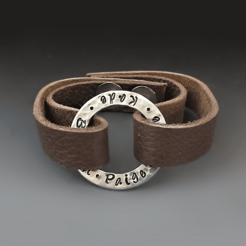 6f5d1b6391 Personalized Leather & Silver Washer Bracelet