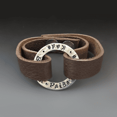 Personalized Leather Washer Bracelet